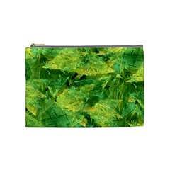 Green Springtime Leafs Cosmetic Bag (medium)  by designworld65
