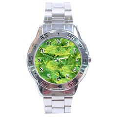 Green Springtime Leafs Stainless Steel Analogue Watch by designworld65