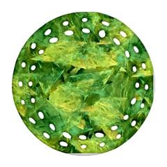 Green Springtime Leafs Ornament (round Filigree) by designworld65