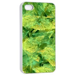 Green Springtime Leafs Apple Iphone 4/4s Seamless Case (white) by designworld65