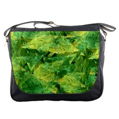 Green Springtime Leafs Messenger Bags by designworld65