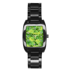 Green Springtime Leafs Stainless Steel Barrel Watch by designworld65