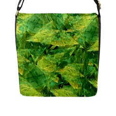 Green Springtime Leafs Flap Messenger Bag (l)  by designworld65