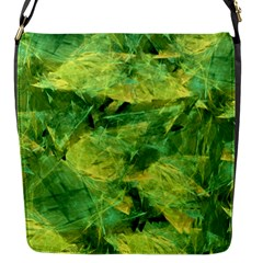 Green Springtime Leafs Flap Messenger Bag (s) by designworld65