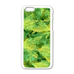 Green Springtime Leafs Apple Iphone 6/6s White Enamel Case by designworld65