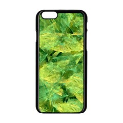 Green Springtime Leafs Apple Iphone 6/6s Black Enamel Case by designworld65