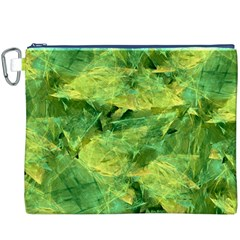 Green Springtime Leafs Canvas Cosmetic Bag (xxxl) by designworld65