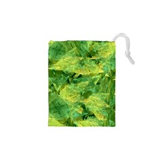 Green Springtime Leafs Drawstring Pouches (xs)  by designworld65