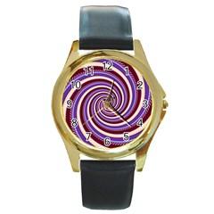 Woven Spiral Round Gold Metal Watch by designworld65