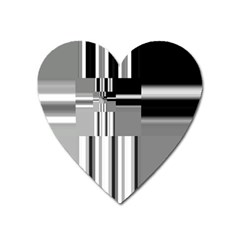 Black And White Endless Window Heart Magnet by designworld65