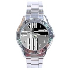Black And White Endless Window Stainless Steel Analogue Watch by designworld65