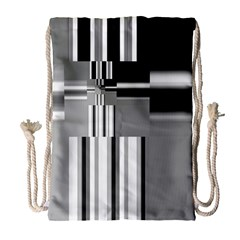 Black And White Endless Window Drawstring Bag (large) by designworld65