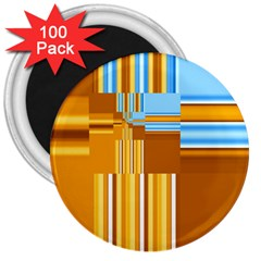 Endless Window Blue Gold 3  Magnets (100 Pack) by designworld65