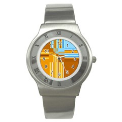 Endless Window Blue Gold Stainless Steel Watch by designworld65