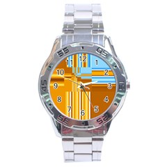 Endless Window Blue Gold Stainless Steel Analogue Watch by designworld65
