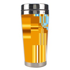 Endless Window Blue Gold Stainless Steel Travel Tumblers by designworld65