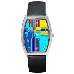 Colorful Endless Window Barrel Style Metal Watch