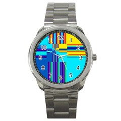Colorful Endless Window Sport Metal Watch