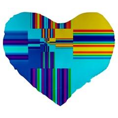 Colorful Endless Window Large 19  Premium Flano Heart Shape Cushions by designworld65