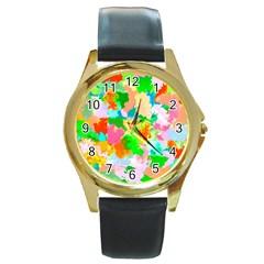 Colorful Summer Splash Round Gold Metal Watch by designworld65