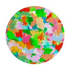 Colorful Summer Splash Round Ornament (two Sides) by designworld65