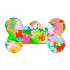 Colorful Summer Splash Dog Tag Bone (one Side) by designworld65