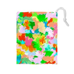 Colorful Summer Splash Drawstring Pouches (large)  by designworld65