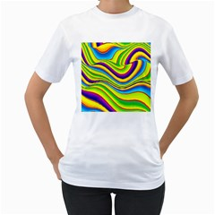 Summer Wave Colors Women s T Shirt (white) (two Sided) by designworld65