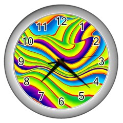 Summer Wave Colors Wall Clocks (silver)  by designworld65
