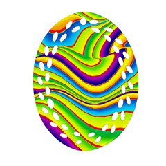 Summer Wave Colors Oval Filigree Ornament (two Sides) by designworld65