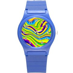 Summer Wave Colors Round Plastic Sport Watch (s) by designworld65