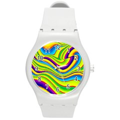 Summer Wave Colors Round Plastic Sport Watch (m) by designworld65