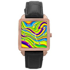 Summer Wave Colors Rose Gold Leather Watch  by designworld65