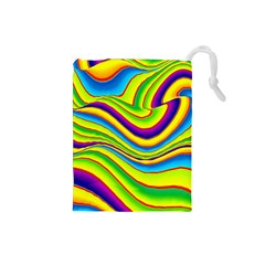 Summer Wave Colors Drawstring Pouches (small)  by designworld65