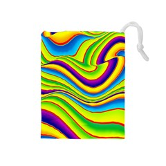 Summer Wave Colors Drawstring Pouches (medium)  by designworld65