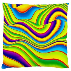Summer Wave Colors Large Flano Cushion Case (two Sides) by designworld65