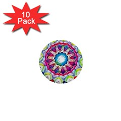 Sunshine Feeling Mandala 1  Mini Buttons (10 Pack)  by designworld65