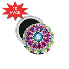 Sunshine Feeling Mandala 1 75  Magnets (10 Pack)  by designworld65