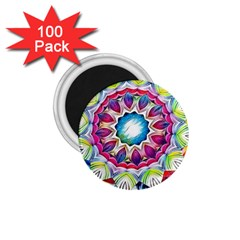 Sunshine Feeling Mandala 1 75  Magnets (100 Pack)  by designworld65