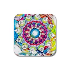 Sunshine Feeling Mandala Rubber Coaster (square)  by designworld65