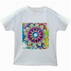 Sunshine Feeling Mandala Kids White T Shirts by designworld65