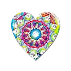 Sunshine Feeling Mandala Heart Magnet by designworld65