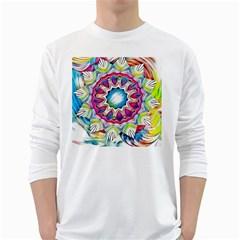 Sunshine Feeling Mandala White Long Sleeve T Shirts by designworld65