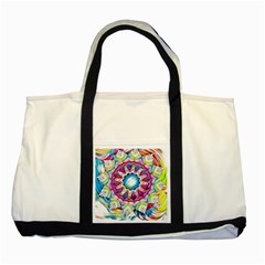 Sunshine Feeling Mandala Two Tone Tote Bag by designworld65