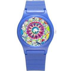 Sunshine Feeling Mandala Round Plastic Sport Watch (s) by designworld65
