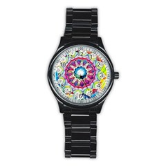 Sunshine Feeling Mandala Stainless Steel Round Watch by designworld65