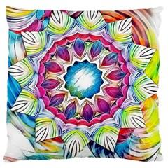 Sunshine Feeling Mandala Large Flano Cushion Case (two Sides) by designworld65