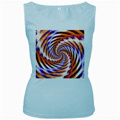 Woven Colorful Waves Women s Baby Blue Tank Top