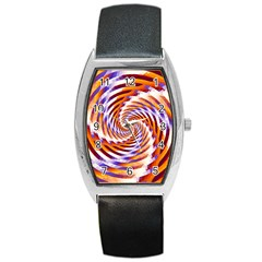 Woven Colorful Waves Barrel Style Metal Watch by designworld65