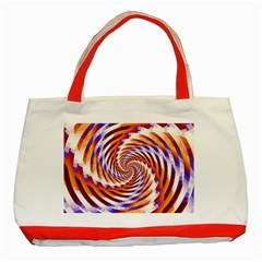 Woven Colorful Waves Classic Tote Bag (red) by designworld65